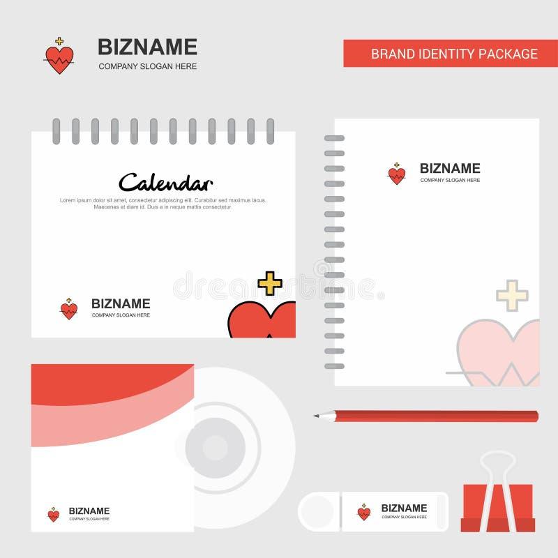 Logo de fréquence cardiaque, calibre de calendrier, couverture de CD, journal intime et calibre stationnaire de vecteur de design illustration de vecteur