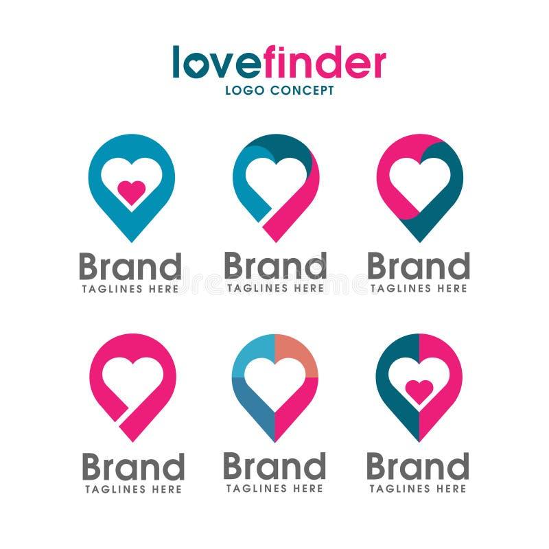 Logo de goupille d'amour, logo de trouveur d'amour illustration stock