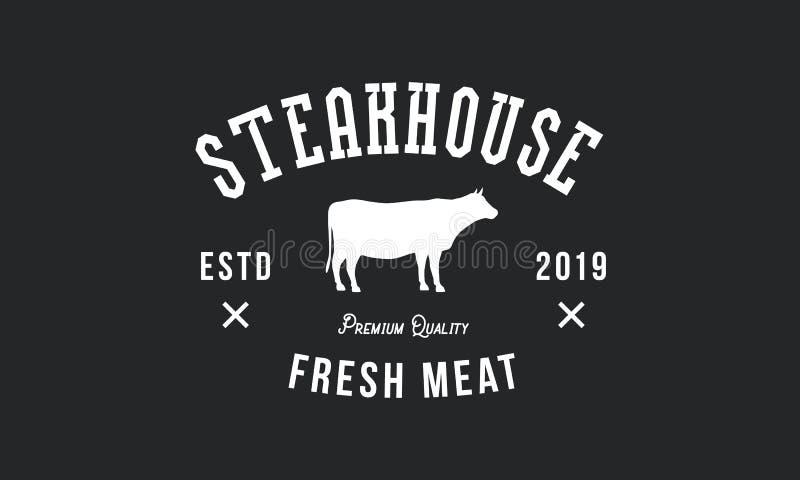 Logo de grill Conception de cru Silhouette de vache Embl?me de restaurant de gril Vecteur illustration de vecteur