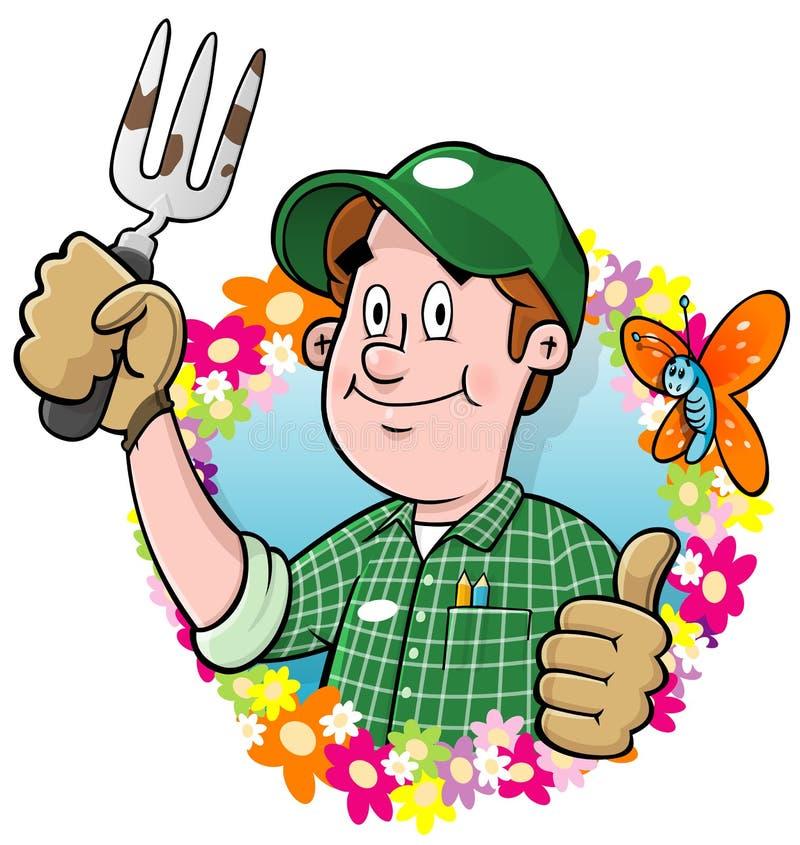 Logo de jardinier de dessin animé illustration libre de droits