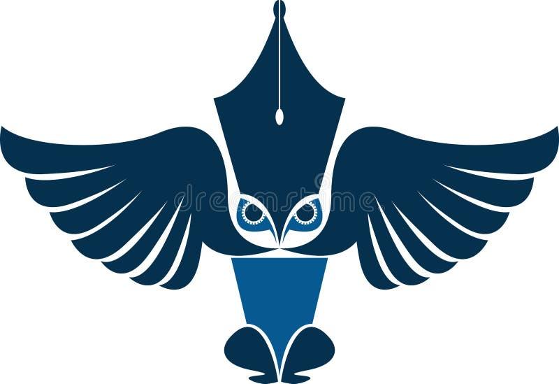 Logo de journaliste de hibou illustration de vecteur