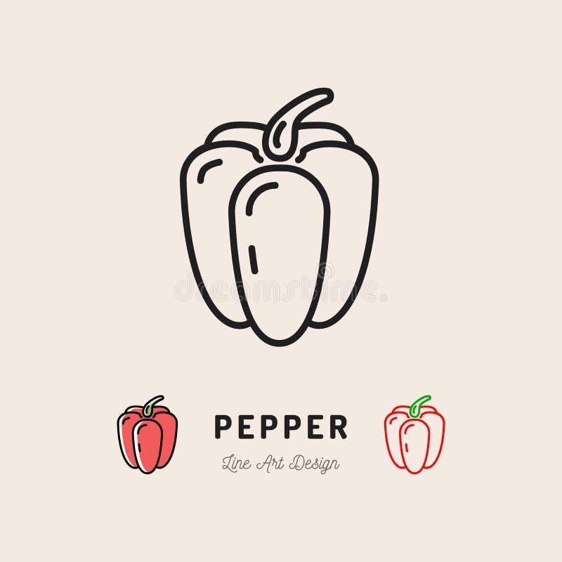 Logo de légumes d'icône de paprika de vecteur Mince conception de schéma illustration de vecteur