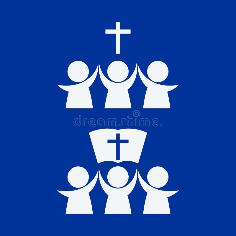 Logo de l'église et du ministère Des croyants dans Lord Jesus Christ sont unis par la foi illustration libre de droits