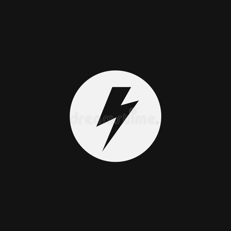 Logo de l'électricité d'isolement sur le fond noir illustration libre de droits