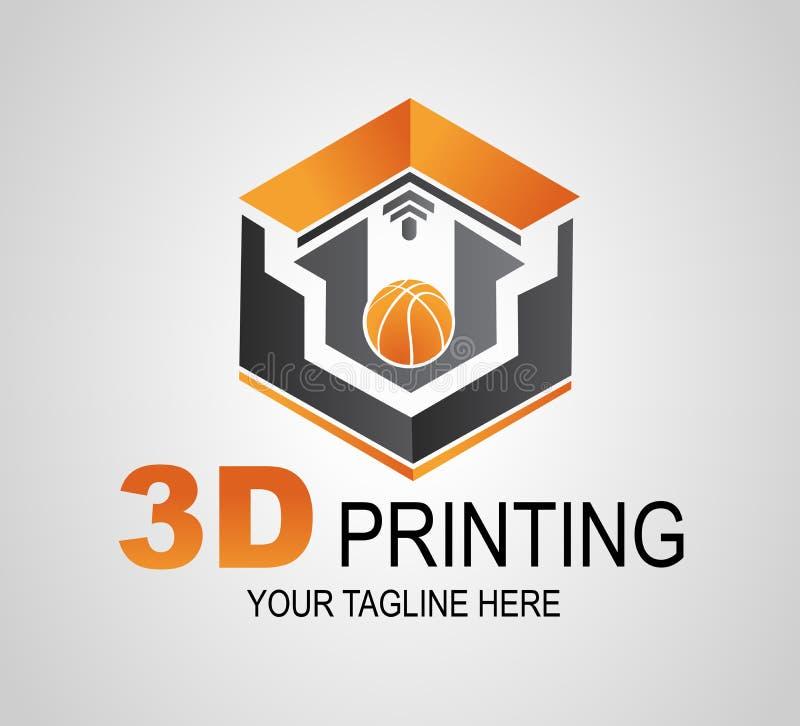 Logo de l'impression 3D ou signe créatif, icône Boule moderne d'impression de l'imprimante 3D Fabrication additive illustration stock