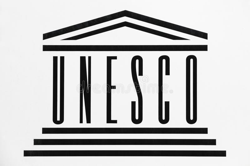 Logo de l'UNESCO sur un mur illustration de vecteur
