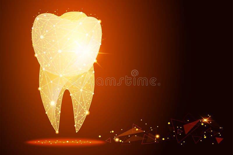 Logo de la clinique dentaire un effet d'or de la poussière illustration de vecteur