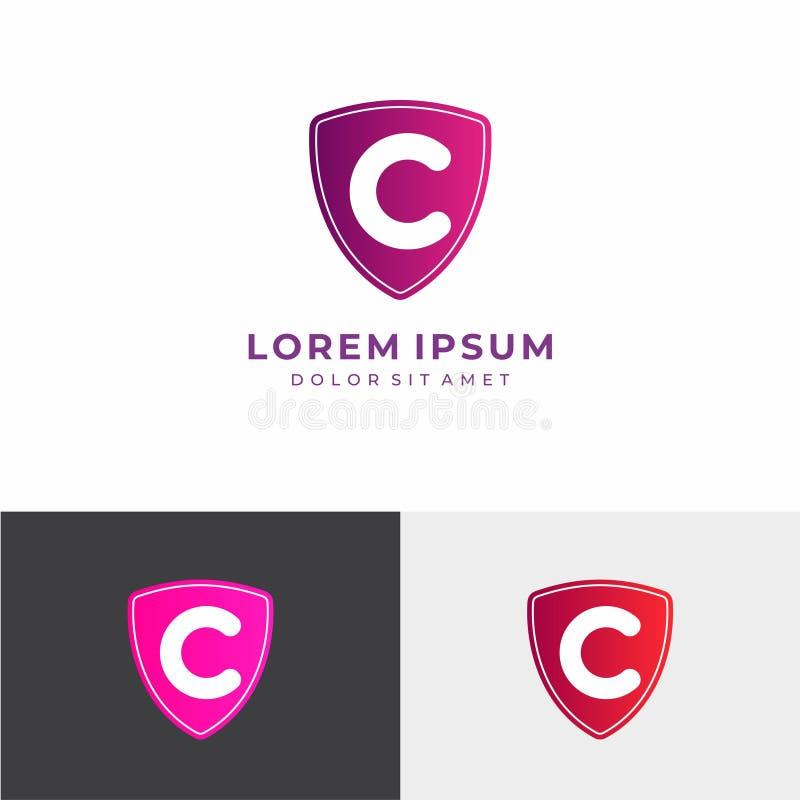 Logo de la lettre C Vecteur de conception de lettre de C avec le bouclier photographie stock libre de droits