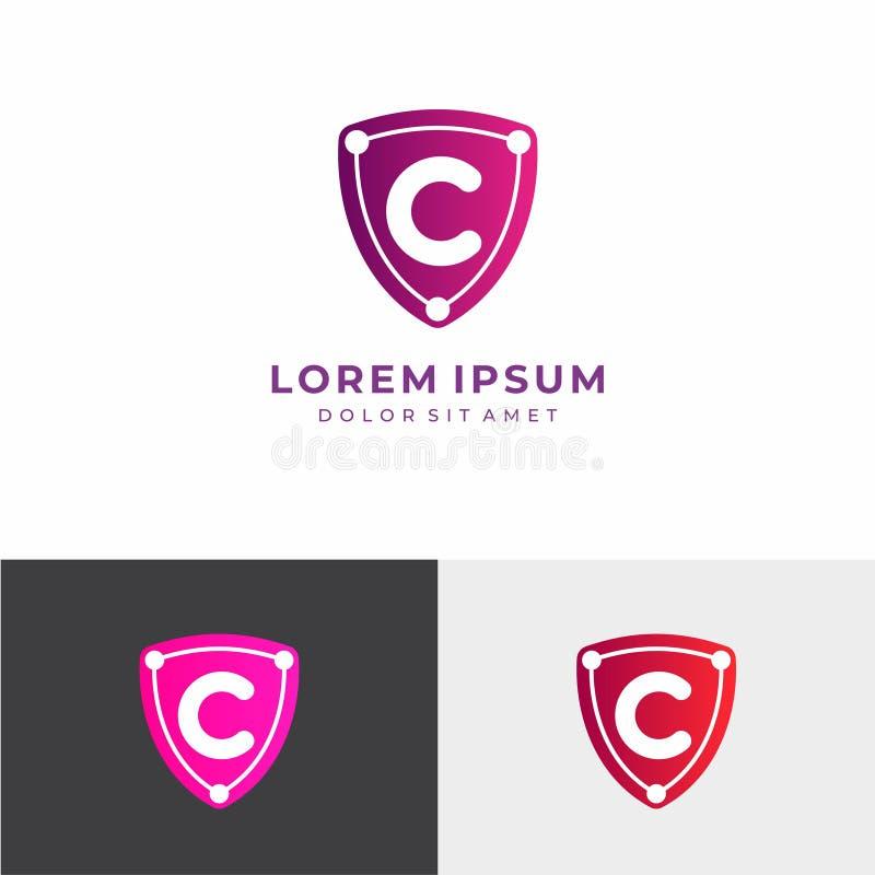 Logo de la lettre C Vecteur de conception de lettre de C avec le bouclier photographie stock