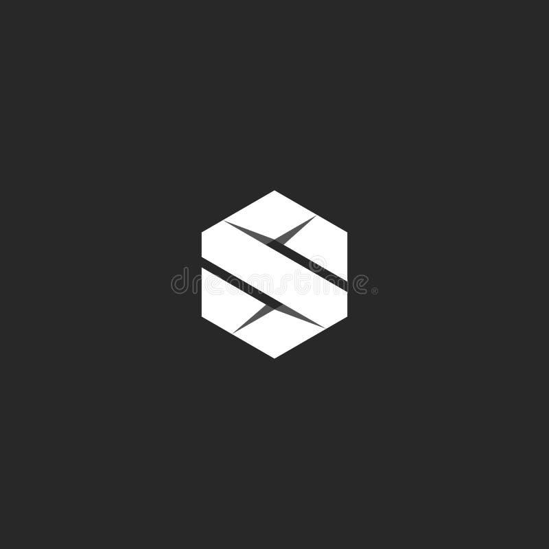 Logo de la lettre S sous la forme géométrique d'un hexagone plié d'une bande du livre blanc dans le style de l'origami illustration libre de droits