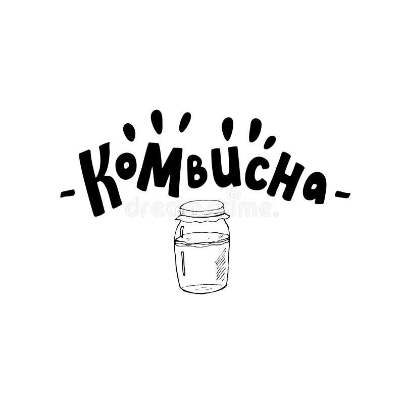 Logo de la typographie du thé Kombucha Texte de style de lettrage moderne pour le menu, la conception du paquet, l'affiche, la ba illustration stock