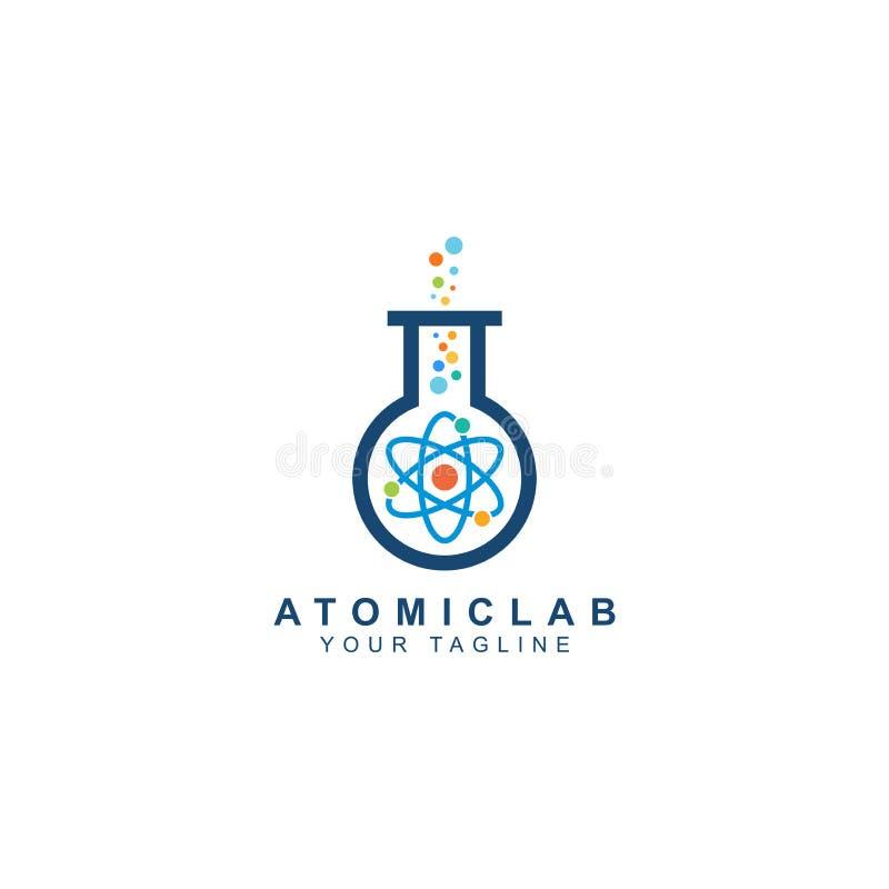 Logo de laboratoire, science et symbole atomiques de recherches illustration stock