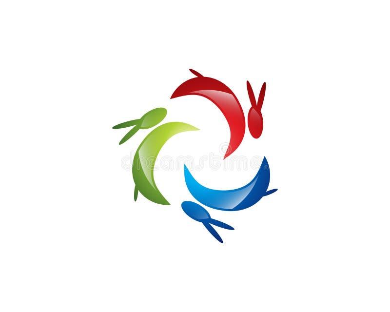 Logo de lapin et conception colorés d'icône image stock