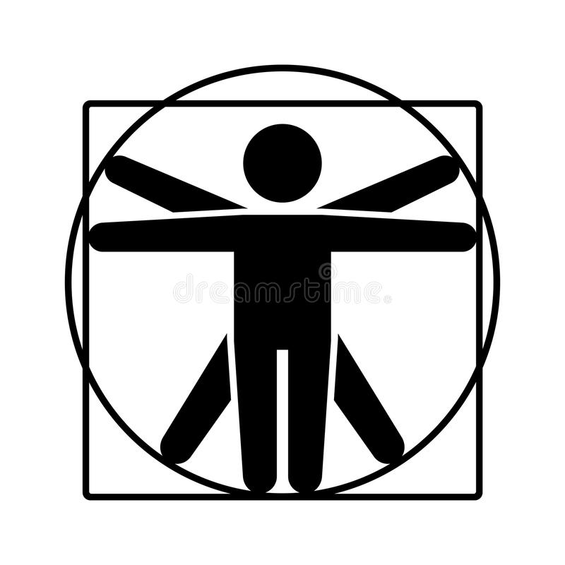 Logo de Leonardo da Vinci Vitruvian Man Sign Icône de style de bâton Vecteur illustration libre de droits