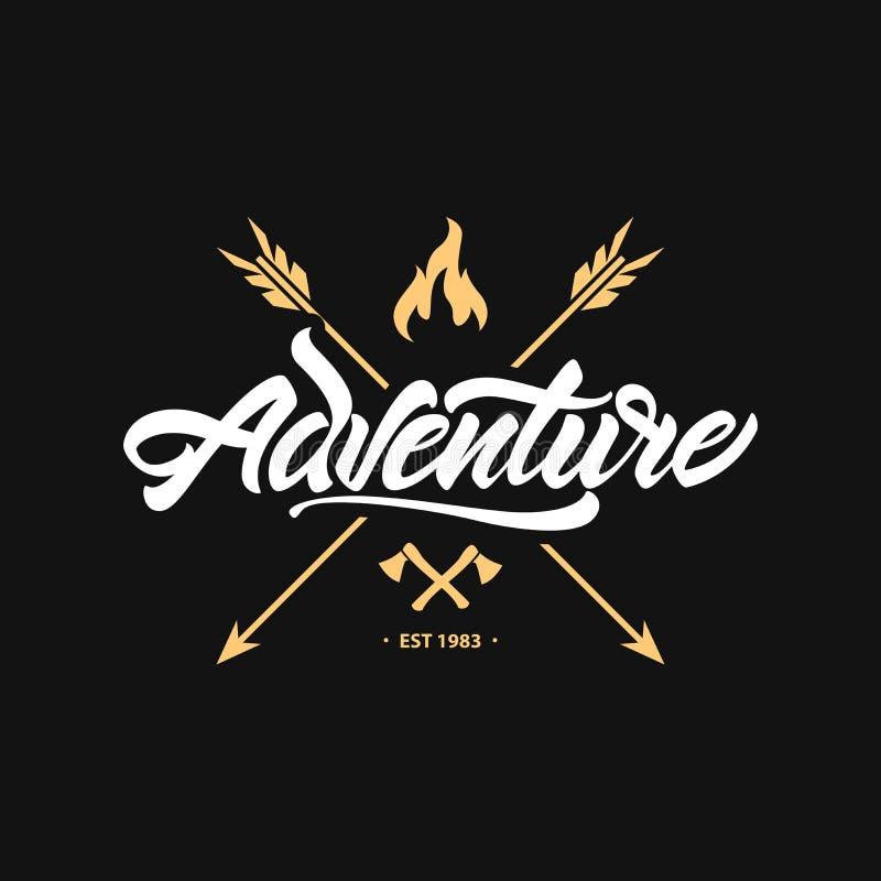 Logo de lettrage d'AVENTURE d'illustration de vecteur avec la hache, la flèche et le feu Style de logo de hippie illustration de vecteur