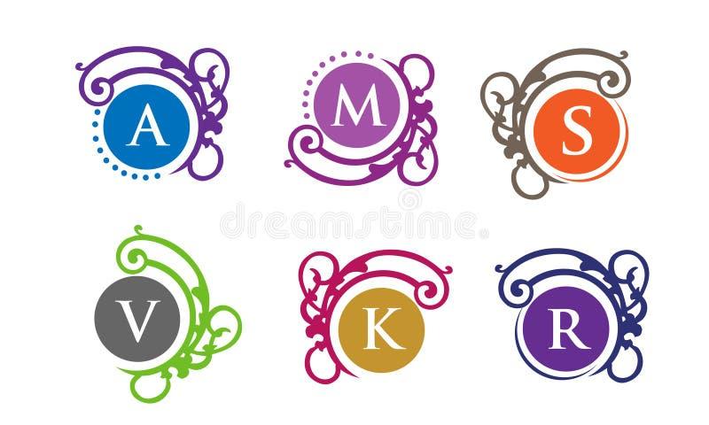 Logo de lettre avec l'ensemble de luxe de cadre d'ornement de vecteur illustration stock