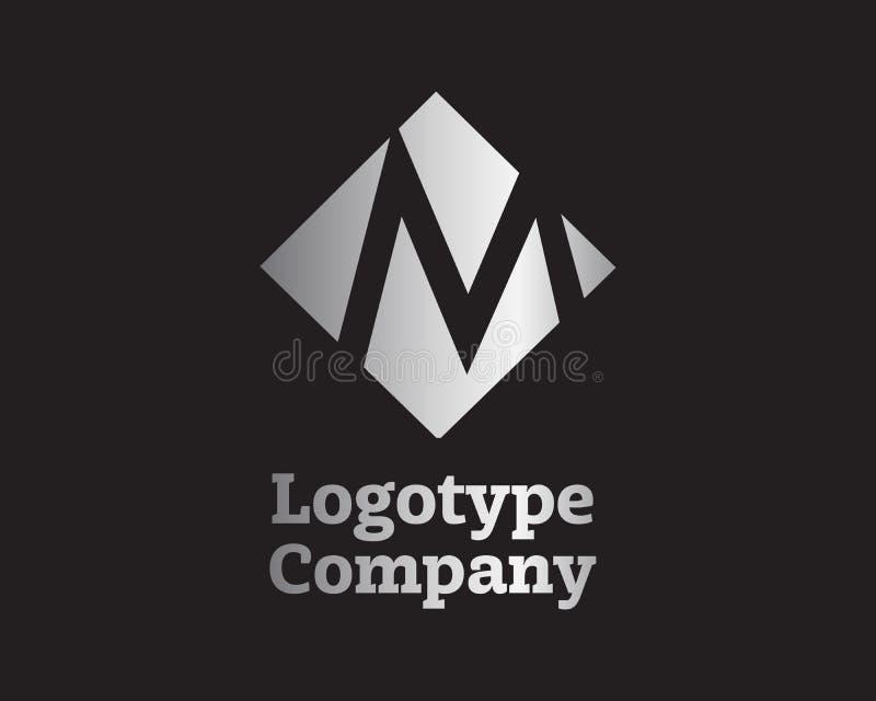 Logo de lettre d'argent de M, calibre de vecteur illustration de vecteur