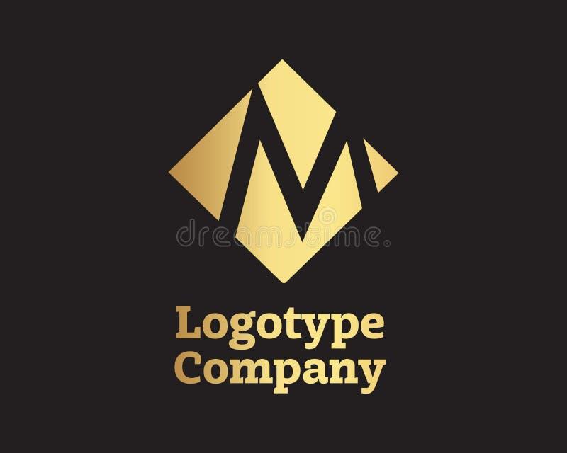 Logo de lettre d'or de M, calibre de vecteur illustration stock