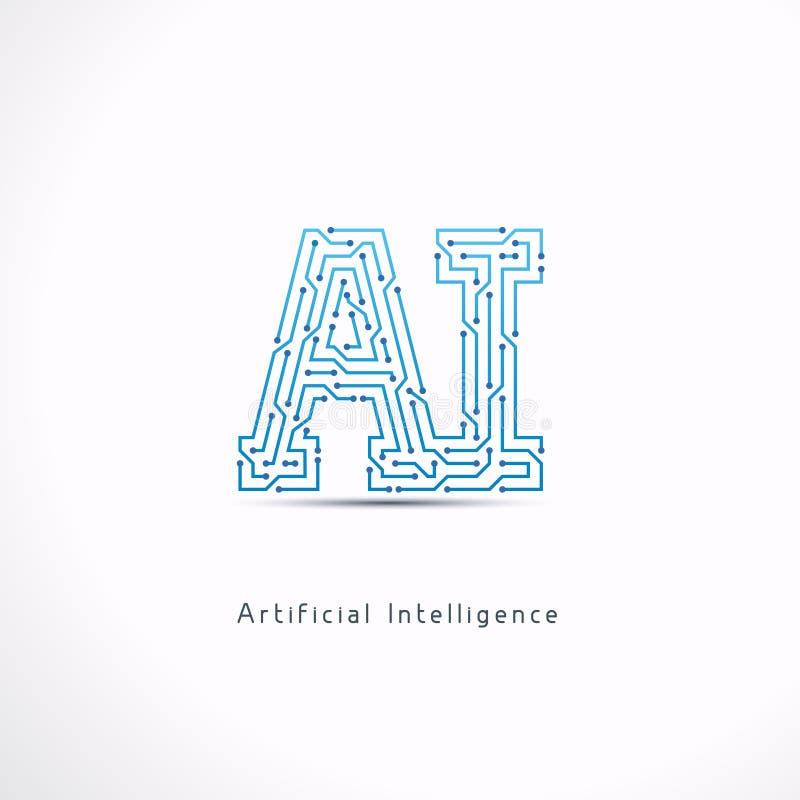Logo de lettre d'intelligence artificielle d'AI illustration stock