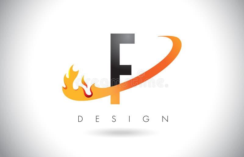 Logo de lettre de F avec la conception de flammes du feu et le bruissement orange illustration stock