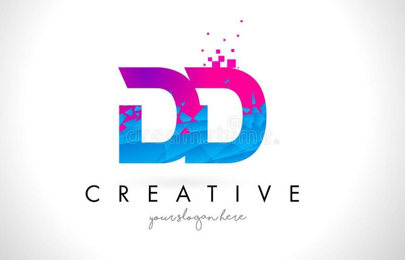 Logo de lettre de la densité double D D avec la texture rose bleue cassée brisée Desig illustration de vecteur