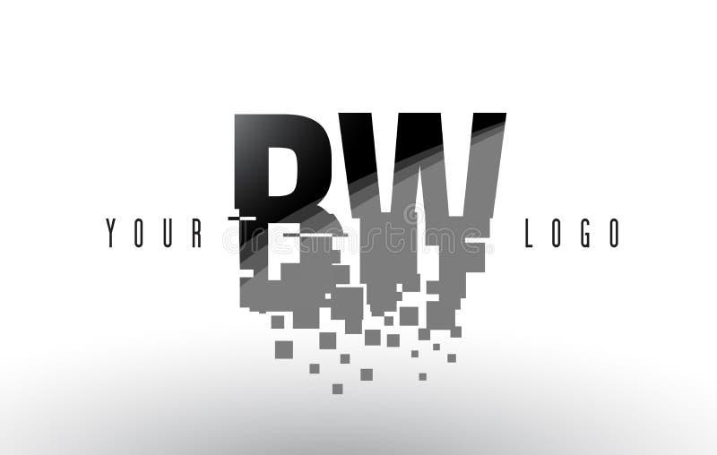 Logo de lettre de pixel de BW B W avec les places noires brisées par Digital illustration libre de droits