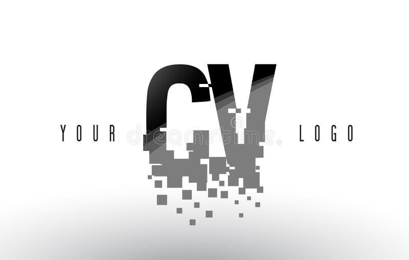 Logo de lettre de pixel de cv C V avec les places noires brisées par Digital illustration libre de droits