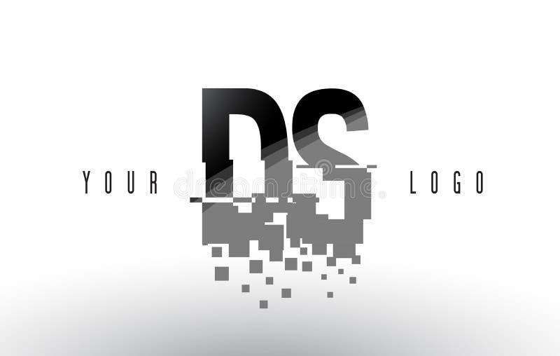 Logo de lettre de pixel de DS D S avec les places noires brisées par Digital illustration stock