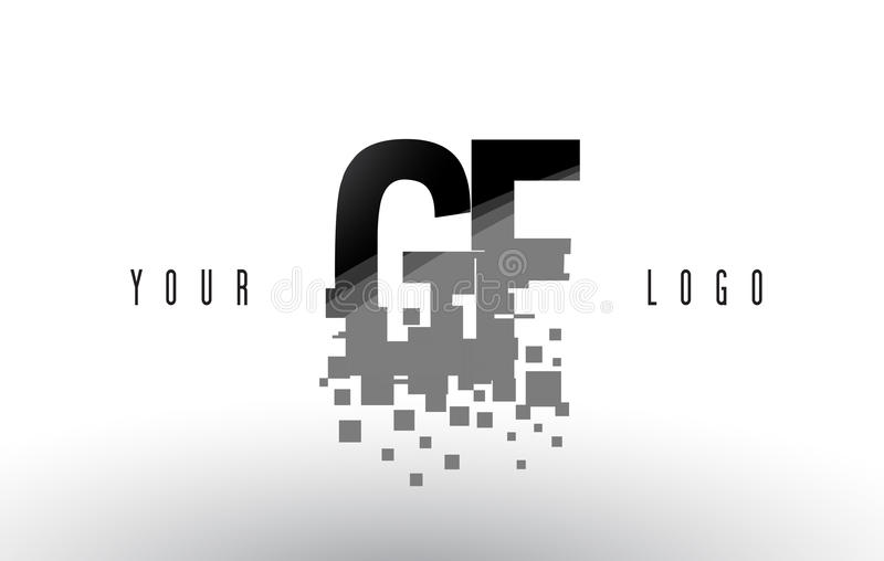 Logo de lettre de pixel de GF G F avec les places noires brisées par Digital illustration de vecteur