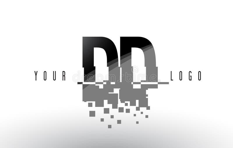 Logo de lettre de pixel de la densité double D D avec les places noires brisées par Digital illustration libre de droits