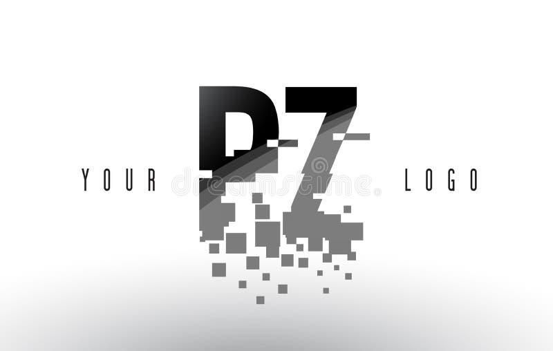 Logo de lettre de pixel de PZ P Z avec les places noires brisées par Digital illustration libre de droits