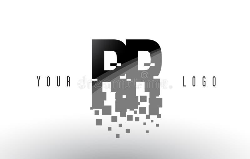 Logo de lettre de pixel de rr R avec les places noires brisées par Digital illustration de vecteur