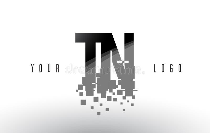 Logo de lettre de pixel de TN T N avec les places noires brisées par Digital illustration stock