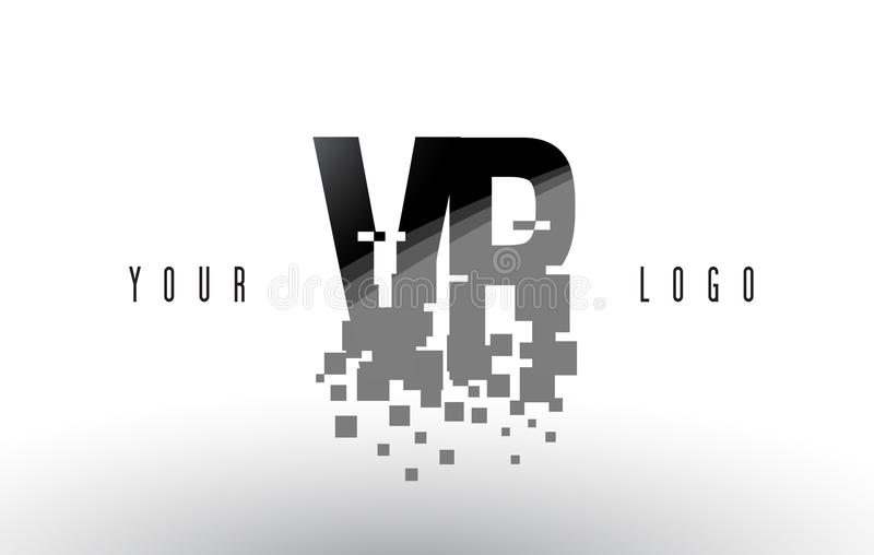 Logo de lettre de pixel de VR V R avec les places noires brisées par Digital illustration de vecteur
