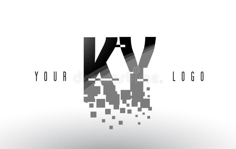 Logo de lettre de pixel des KY K Y avec les places noires brisées par Digital illustration de vecteur