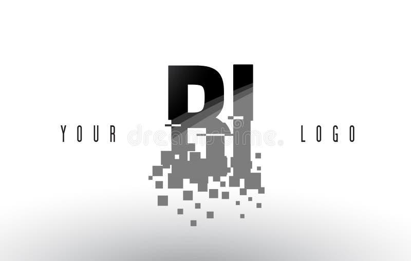 Logo de lettre de pixel du BI B I avec les places noires brisées par Digital illustration stock