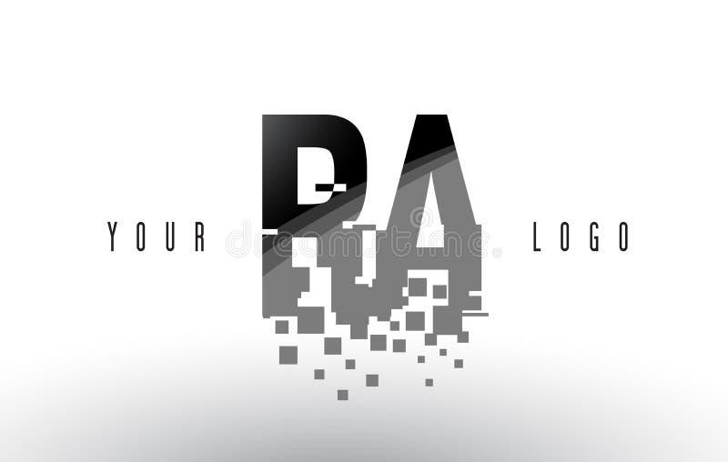 Logo de lettre de pixel du RA R Q avec les places noires brisées par Digital illustration de vecteur