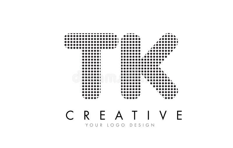 Logo de lettre de TK T K avec les points et les traînées noirs illustration de vecteur