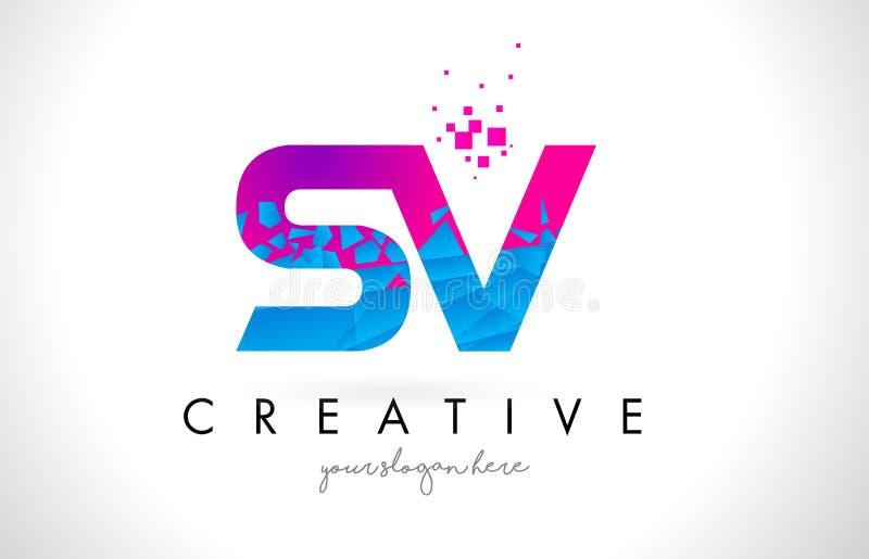 Logo de lettre du SV S V avec la texture rose bleue cassée brisée Desig illustration stock