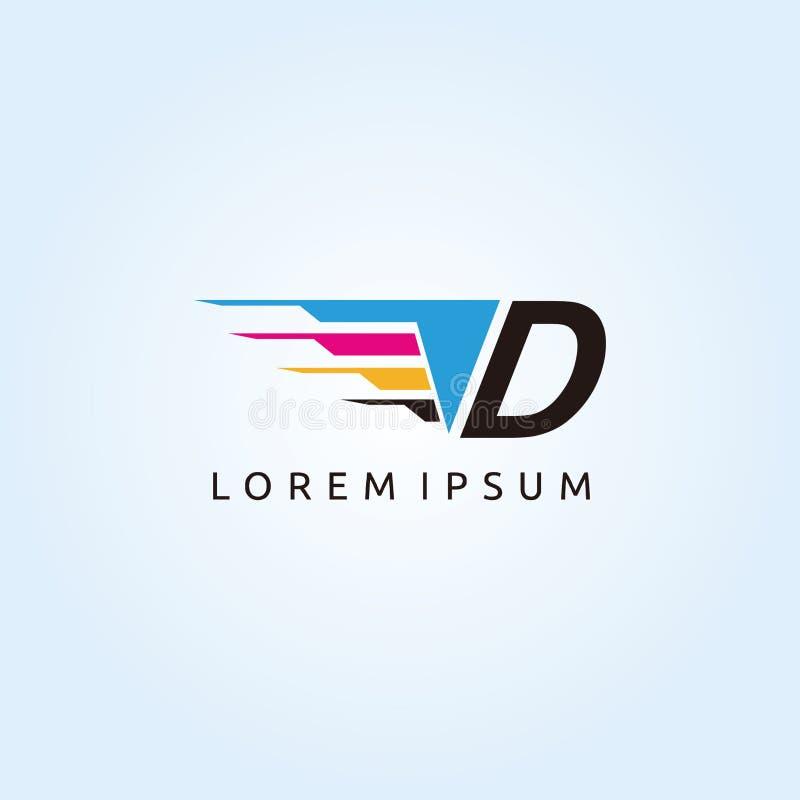 Logo de lettre de la technologie D CMYK d'impression de Digital illustration stock