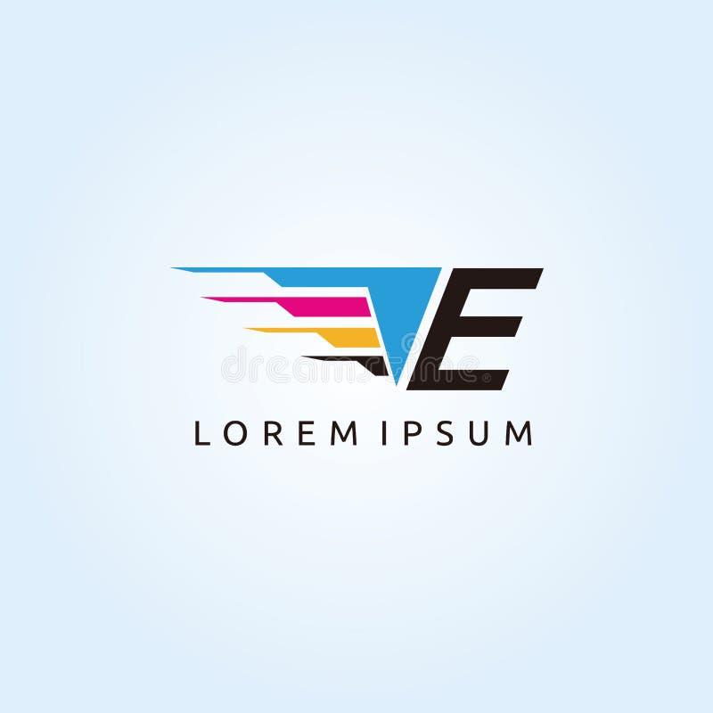 Logo de lettre de la technologie E CMYK d'impression de Digital illustration libre de droits
