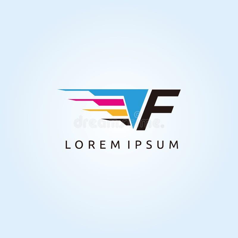 Logo de lettre de la technologie F CMYK d'impression de Digital illustration de vecteur