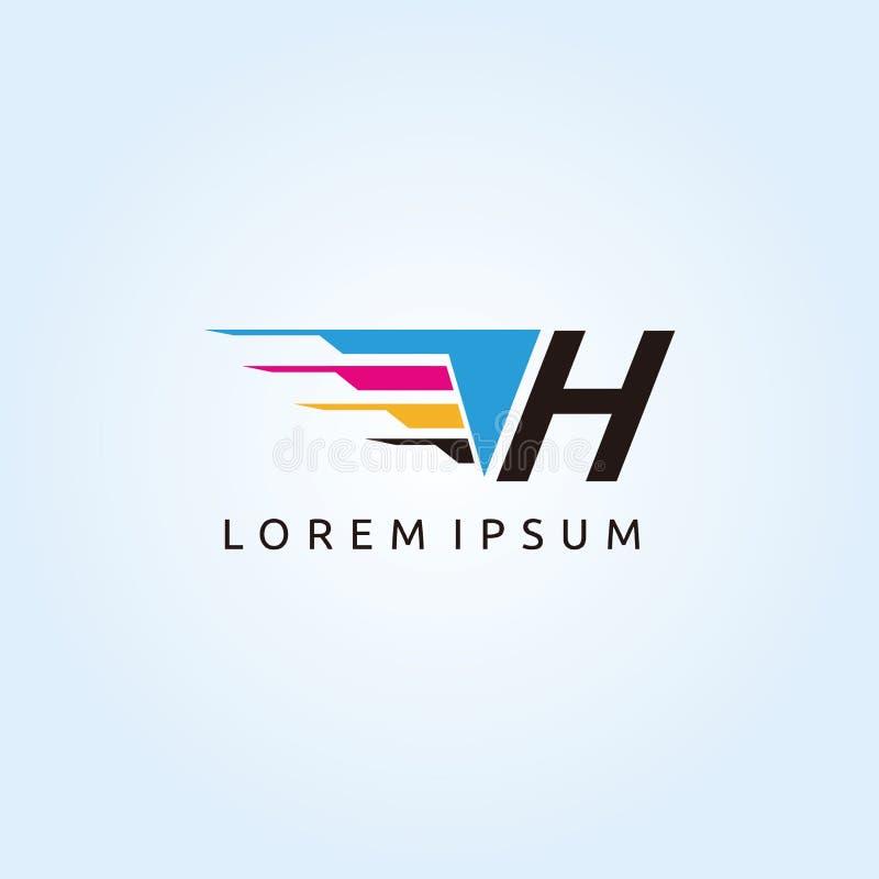 Logo de lettre de la technologie H CMYK d'impression de Digital illustration stock