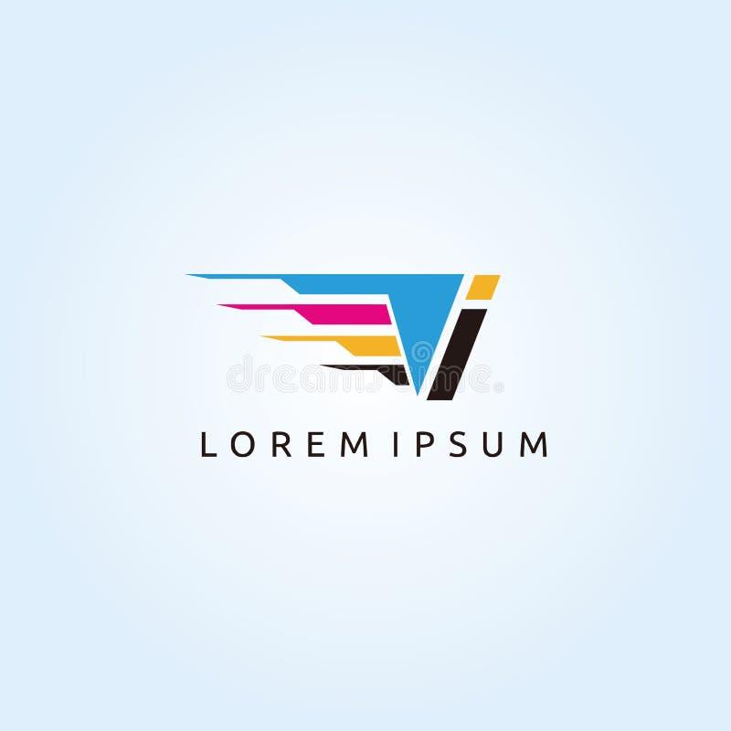 Logo de lettre de la technologie I CMYK d'impression de Digital illustration libre de droits
