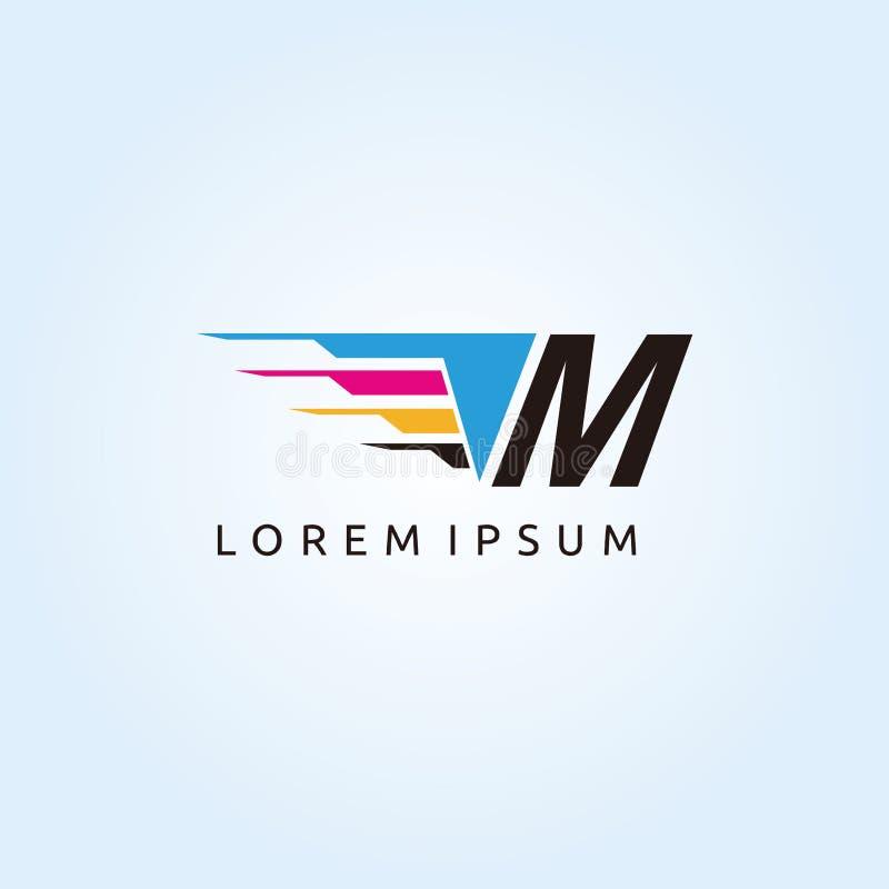 Logo de lettre de la technologie M CMYK d'impression de Digital illustration de vecteur