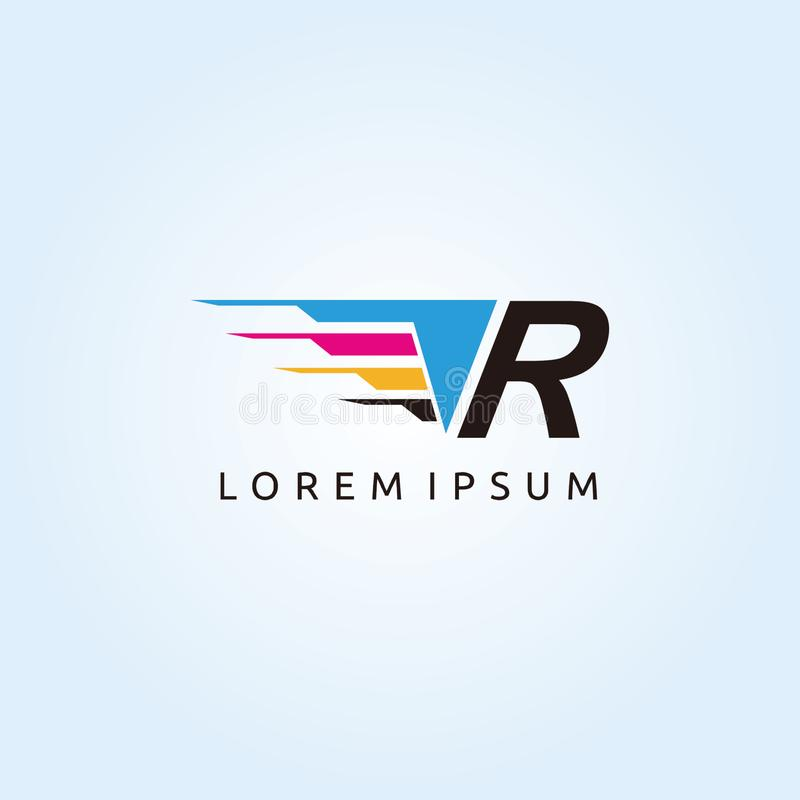 Logo de lettre de la technologie R CMYK d'impression de Digital illustration stock