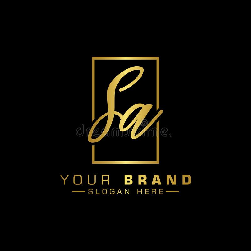 Logo de lettre SA Couleur de luxe de vecteur de conception de lettre initiale illustration stock