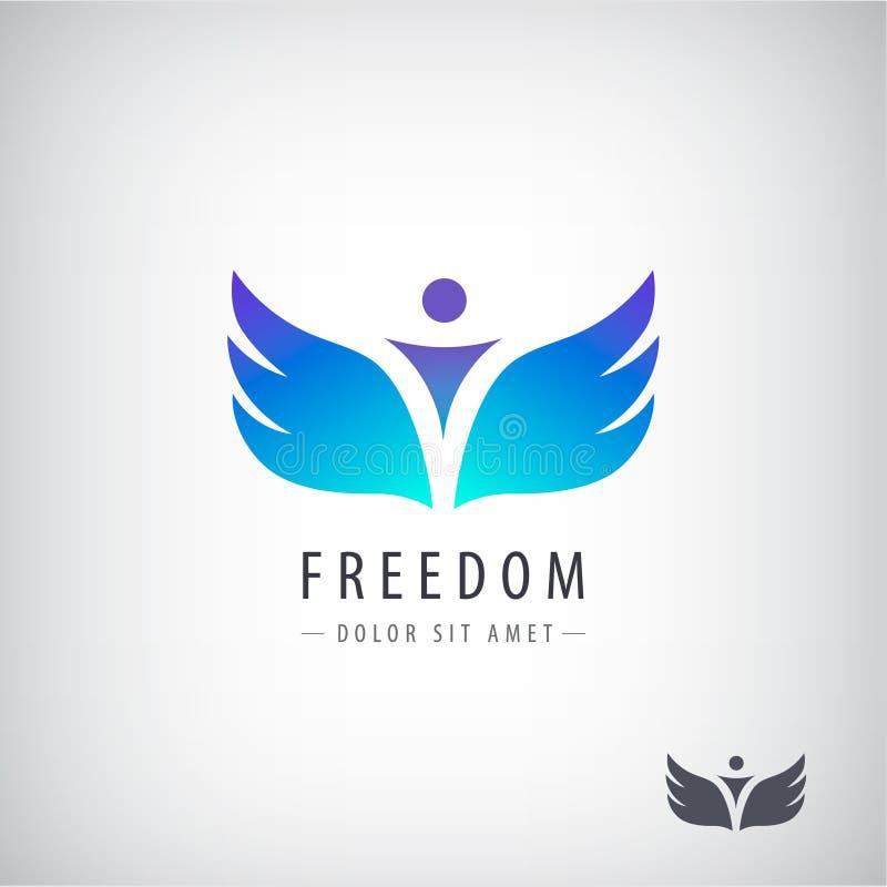 Logo de liberté de vecteur, concept Homme avec des ailes illustration de vecteur