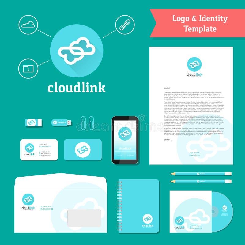Logo de lien de nuage et calibre d'identité illustration stock