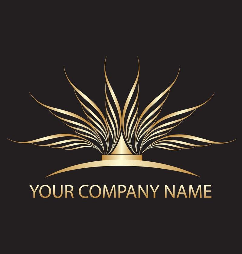 Logo de lotus d'or illustration de vecteur
